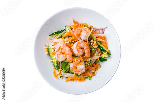 Fototapeta Vietnamese shrimp salad on white background isolated obraz