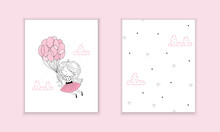 Hand Drawn Cute Fashion Cartoon Girl And Hearts Background. Vector Illustration. Cute Little Girl In Pink Flying Away In The Sky With Her Pink Balloon