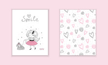 Hand Drawn Cute Fashion Cartoon Girl And Hearts Background. Vector Illustration.