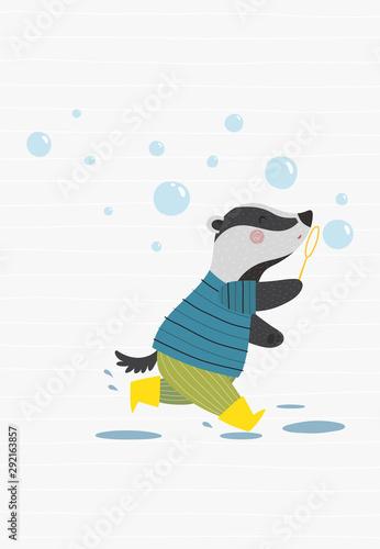 Fotografía Badger with soap bubbles, funny poster