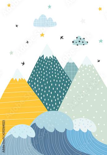 gory-i-fale-w-stylu-skandynawskim-ilustracja-natury-dla-dzieci-wektorowa-ilustracja-z-prostymi-przedmiotami