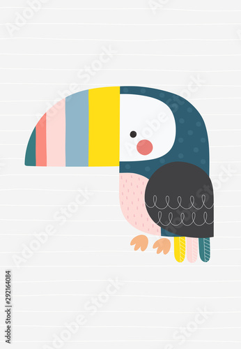 Obraz Colorful toucan. Vector illustration in a scandinavian style with simple background. Funny poster. - fototapety do salonu