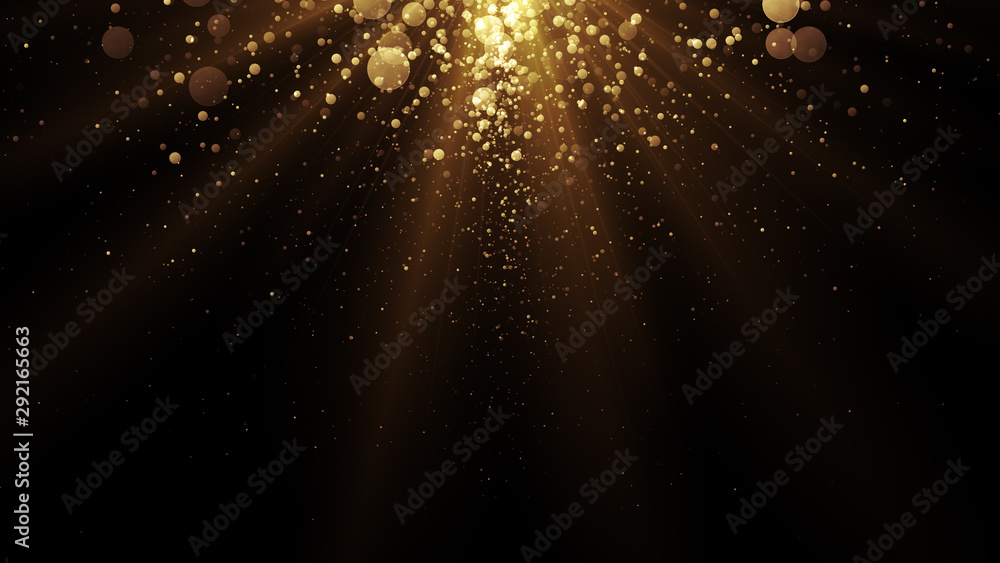 Fototapeta Golden particles. Abstract glamour background for celebration.