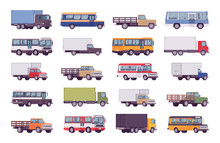 Trucks Big Bundle Set. Large, Heavy Road Vehicles For Carrying Goods, Materials, Troops, School Passenger Bus And Industrial Lorry. Vector Flat Style Cartoon Illustration Isolated On White Background
