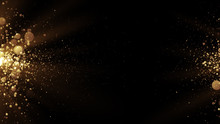Abstract Golden Background With Particles Come From The Left And Right.