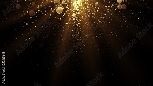 Fotografiet  Golden particles. Abstract glamour background for celebration.
