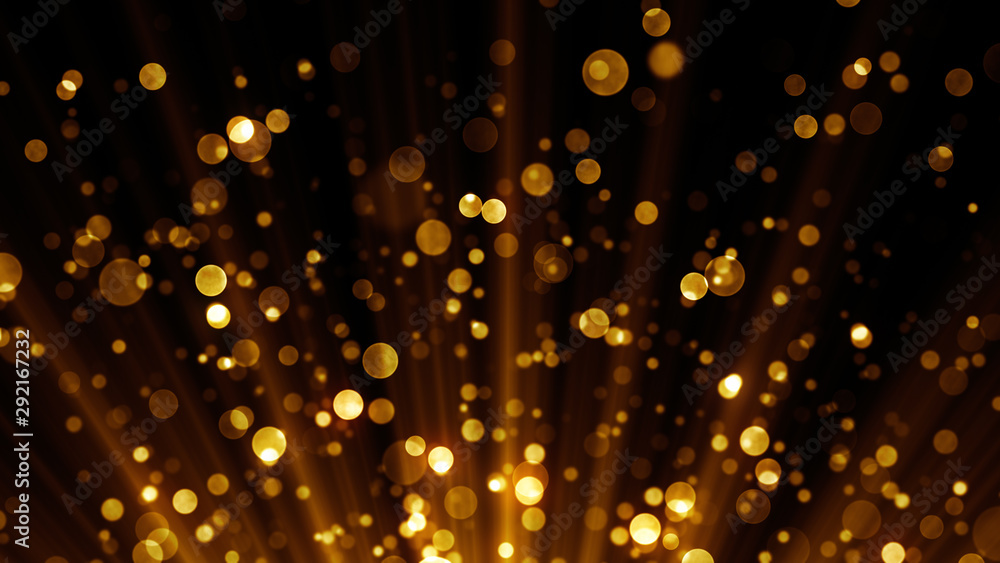 Fototapety, obrazy: Golden particles. Abstract background with magic lights and glitter sparks.