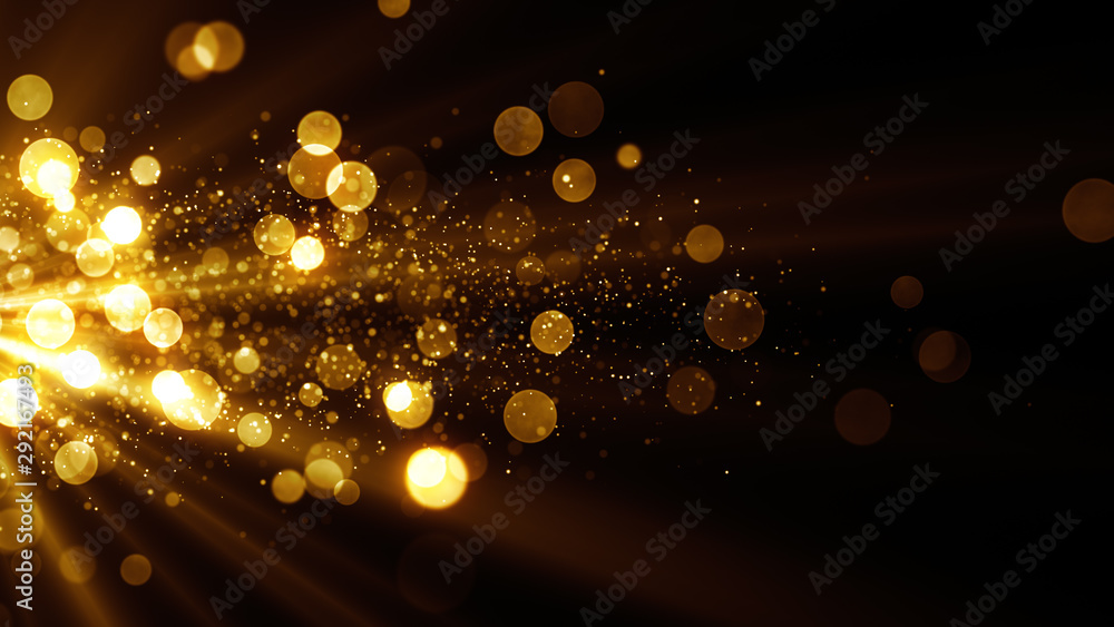 Fototapeta Glitter celebration texture. Golden stream with particles. Abstract background with magic lights and sparks.