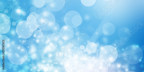 white bokeh blur background / Circle light on blue background / abstract light b Fototapet
