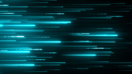 Horizontal neon beams. Blue technology background. Abstract program code moving in a cyberspace. Data flow speed concept. Software script running on a screen.