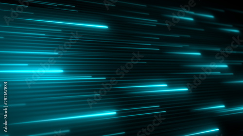 Horizontal neon stripes. Abstract background. Bright shiny lines in a cyberspace. Futuristic data flow. Application code running. System information transfer.