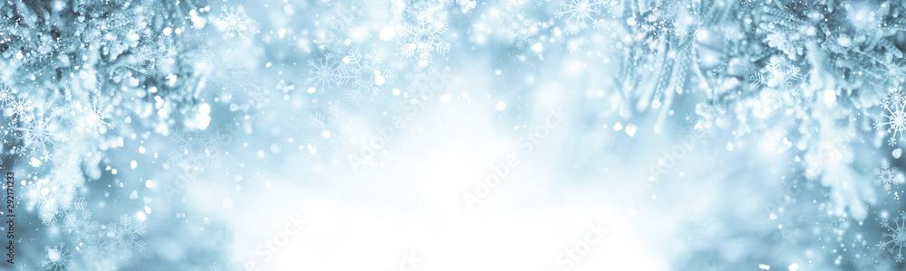 Fototapeta white snow blur abstract background. Bokeh Christmas blurred beautiful shiny Christmas lights