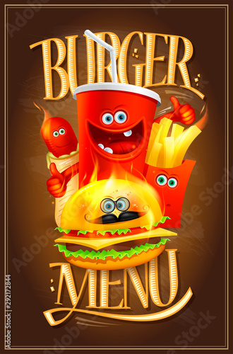 Burger menu cover design with fast food symbols