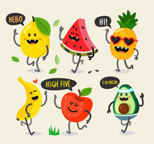 Different Cute Fruits Are Walk...