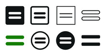 Flat Equal Icon Set Symbol Ill...