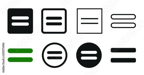 Obraz na plátně Flat Equal Icon Set Symbol Illustration – Vector