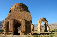 Chisht-e-Sharif, Herat Province, Afghanistan. Two Brick Domes From The Ghorid Period In Chisht E Sharif (or Chist E Sharif) In Western Afghanistan. The Monuments Were Built In The 12th Century.