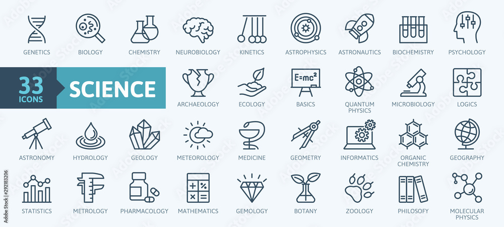 Fototapety, obrazy: Science, scientific activity elements - minimal thin line web icon set. Outline icons collection. Simple vector illustration.