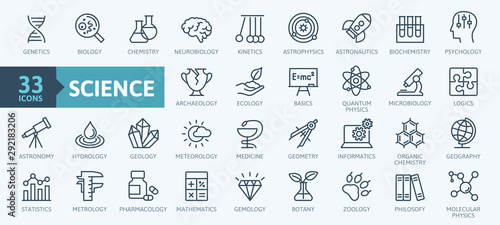 Fotografía  Science, scientific activity elements - minimal thin line web icon set