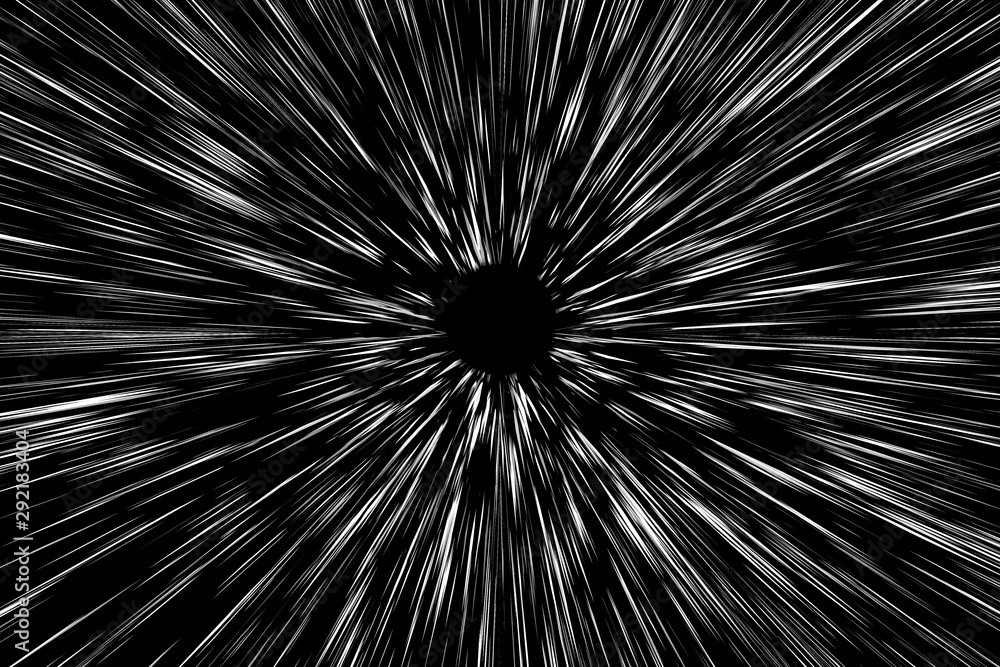 Fototapeta Snow lines bokeh white on black background. abstract speed light motion blur texture. star particle or space traveling