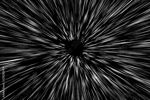 Snow lines bokeh white on black background. abstract speed light motion blur texture. star particle or space traveling