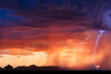 Lightning Storm And Sunset Sky
