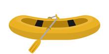 Yellow Rubber Boat Flat Vector Illustration