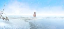Woman Goes Into A Frozen Lake ...