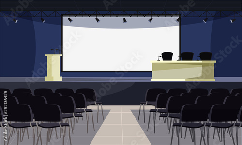 Empty conference room flat vector illustration