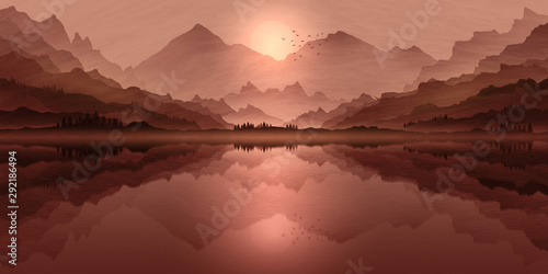 Foto auf AluDibond Lachs Mountain landscape illustration, with setting sun lake reflections, and mist in valley.