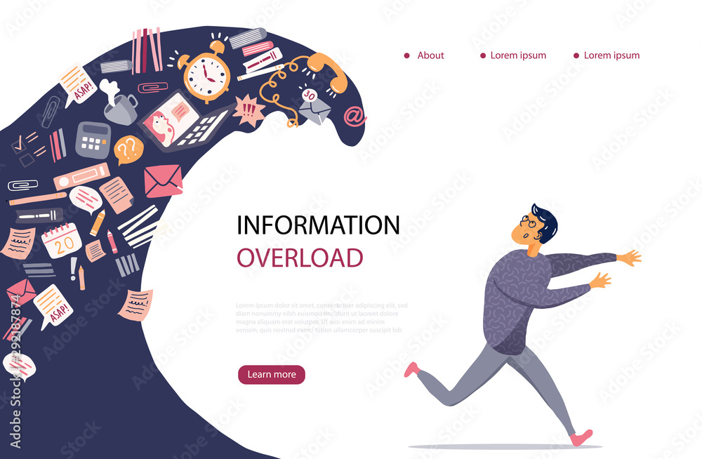 Fototapeta Concept of Information Overload, Digital hygiene, Stress. Overwhelmed person running away from the information stream wave pursuing him. Vector illustration in flat style.