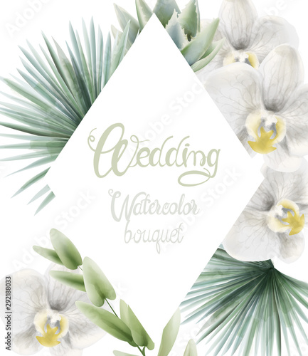 Wedding watercolor bouquet with palm leaves and white orchid. Background Vector Wall mural