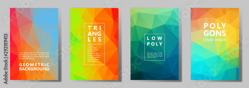 Facet polygonal abstract cover pages, low poly set Tableau sur Toile