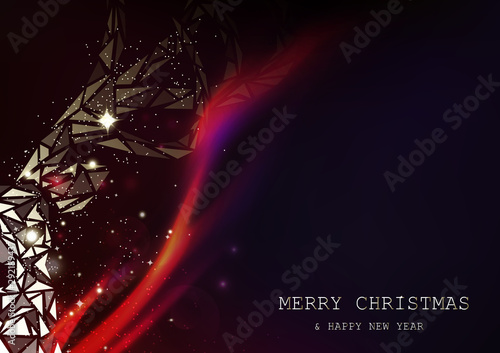 Merry Christmas abstract background and glowing reindeer polygon fantasy galaxy Canvas Print