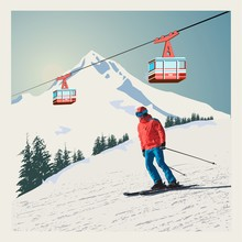 Vector Winter Poster, Background. Advanced Skier Slides Down The Mountain. Red Ski Lift Gondolas Moving In Snow Mountains.