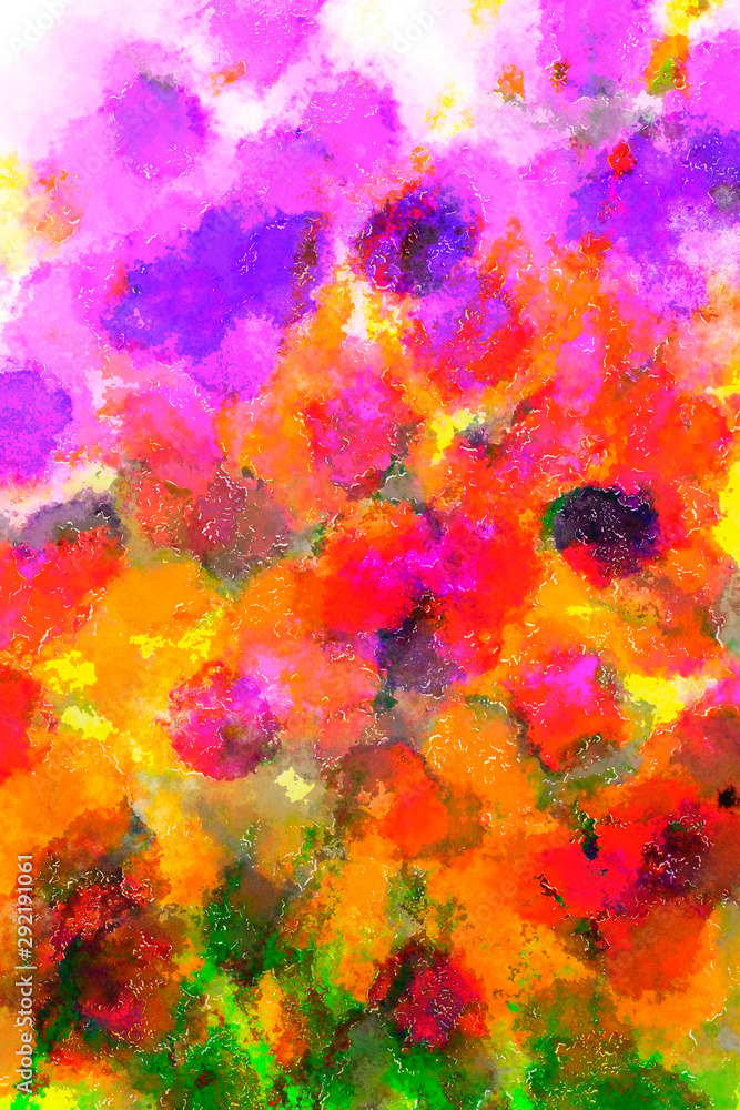Watercolour flowers abstract art painting