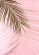 Leinwanddruck Bild Summer beach day scene with tropical plams shadow on pink background. Minimal sunlight tropical arrangement.