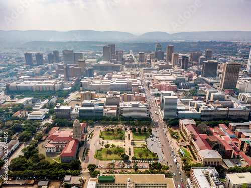 Aerial view of Pretoria downtown, capital city of South Africa