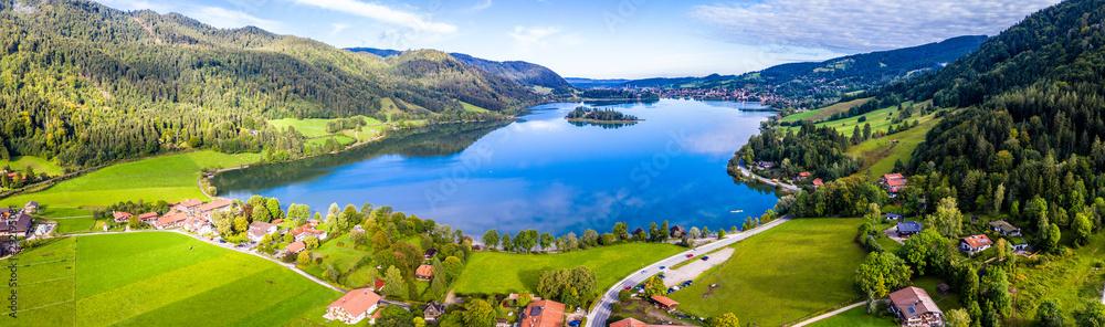 Fototapety, obrazy: Schliersee Lake Panorama Aerial Shot. Bavaria, Germany