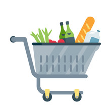 Shopping Cart With Products Ve...