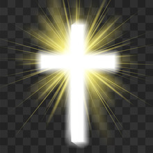 Glowing Christian Cross Isolated On Transparent Background. Saint Warm Halo, God's Light  Scintillation. Spiritual Awakening, Revelation. Purifying Rays Of Sun, Faith Energy That Nourishes Souls.