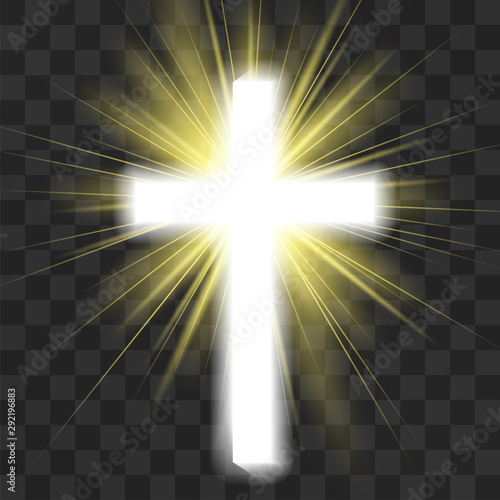 Fotografie, Obraz Glowing christian cross isolated on transparent background