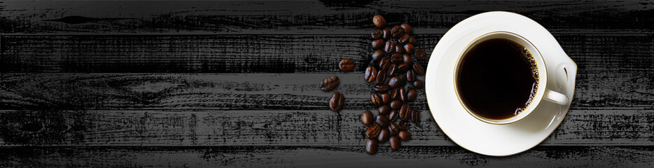 Website header or banner design cup of coffee with beans