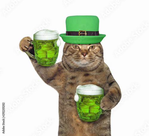 Fotografija The cat in a green hat with two mugs of beer celebrates St