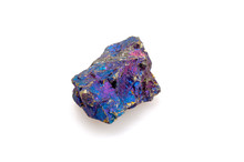 Mineral Chalcopyrite On A White Background.