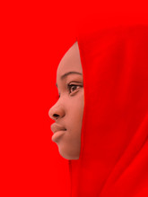 Muslim Girl Wearing A Red Head...