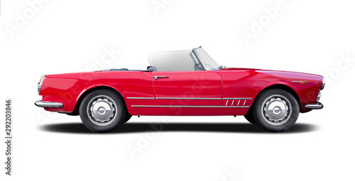 Classic Italian sport cabrio car side view isolated on white - 292203846
