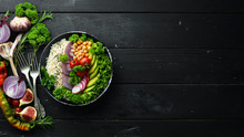 Vegan, Detox Buddha Bowl Recipe With Rice, Avocado, Tomatoes And Chickpeas. Dishes Menu. Free Copy Space. Top View.