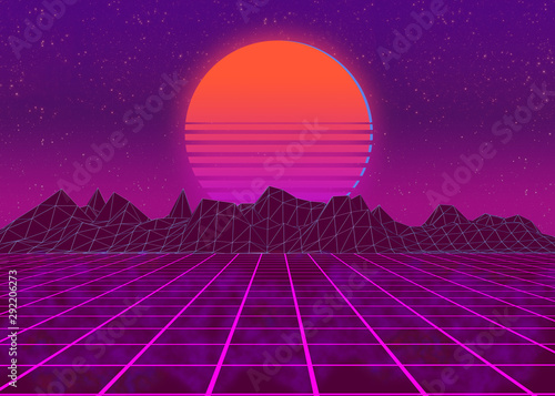 Photo sur Toile Violet Synthwave background