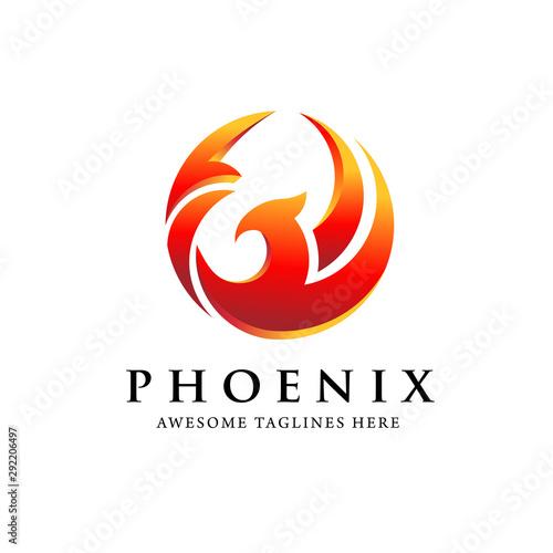 creative simple phoenix bird circle logo concept, best phoenix bird logo design Wallpaper Mural
